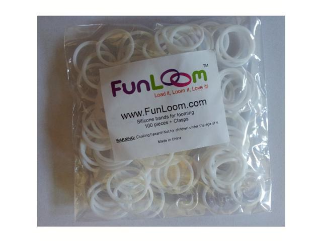 FunLoom 100 Pc Rubber Bands Refills with Super C-clips (White)