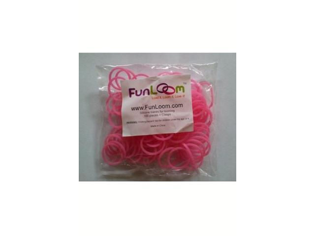 FunLoom 100 Pc Rubber Bands Refills with Super C-clips (Pink)