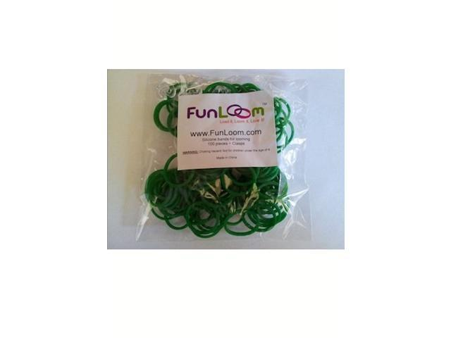 FunLoom 100 Pc Rubber Bands Refills with Super C-clips (Green)