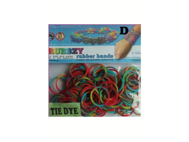 Rubbzy 100 pc Tie Dye Rubber Bands w/ 4 Connectors (#258)