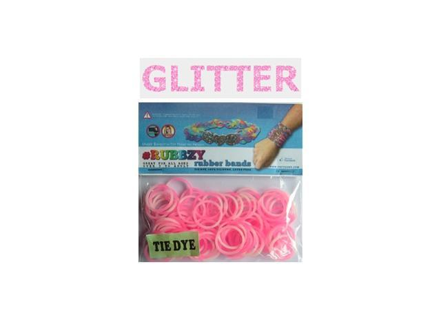 Rubbzy 100 pc Special Edition Tie Dye/Glitter Rubber Bands w/ 4 Connectors (#197)