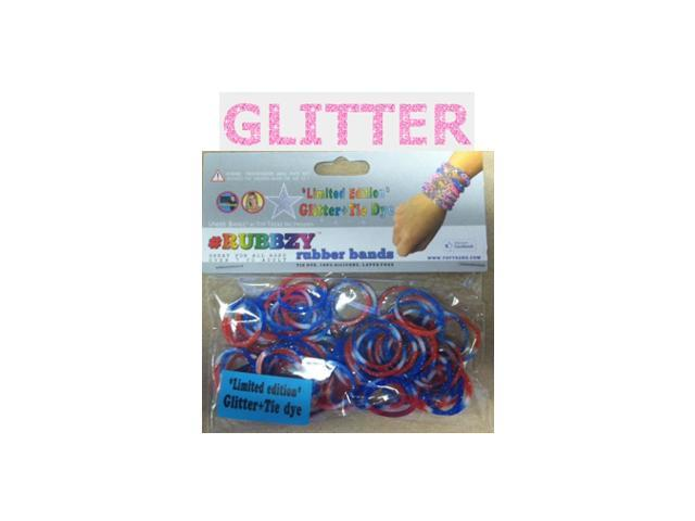 Rubbzy 100 pc Special Edition Tie Dye/Glitter Rubber Bands (#050RWB)