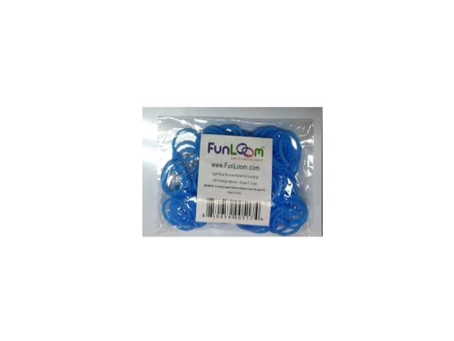 FunLoom 100 Pc Rubber Bands Refills with Super C-clips (Light Blue)