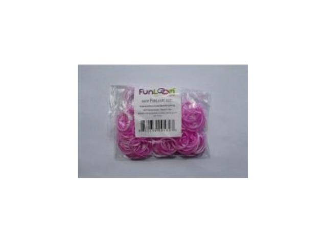 Funloom 100 Pc Tie Dye Bands with Super C-clips- Purple/White