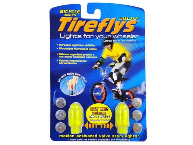 Tireflys Motion Activated Bicycle Valve Stem Lights- Green (Set of 2)