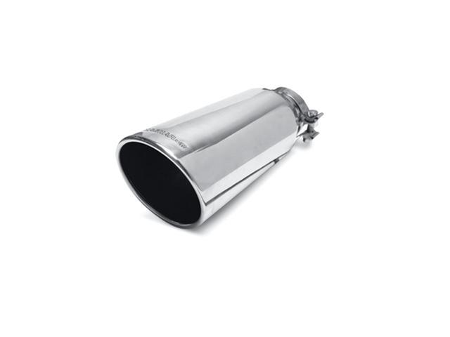 Magnaflow Performance Exhaust 35213 Stainless Steel Exhaust Tip; 5 in. Round; Clamp-On; Single Wall Tip; w/Clamp; Fits 3.5 in. Tail Pipe; Polished;