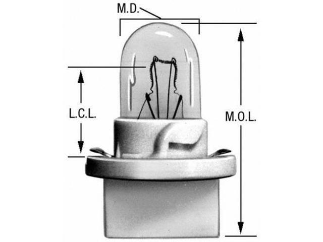 Wagner Lighting Pc195 Instrument Panel Light Bulb - Miniature Lamp - Boxed, Rear