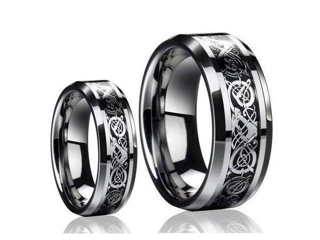 His & Hers 8MM/6MM Dragon Design Tungsten Carbide Wedding ...