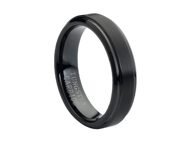 Tungsten Carbide Flat Brushed Center with High Polish Stepped Edge 6mm Wedding Band Ring