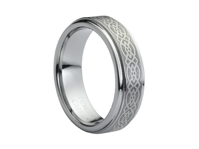 Tungsten Carbide Laser Engraved Celtic Knot Pattern 7mm Wedding Band Ring