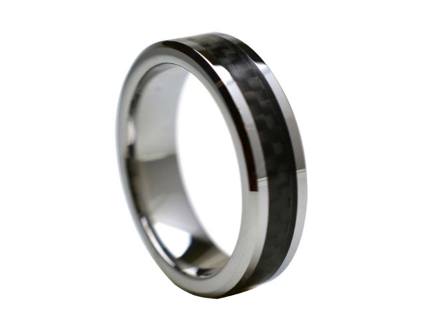 Tungsten Carbide with Black Carbon Fiber Inlay 6mm Wedding Band Ring