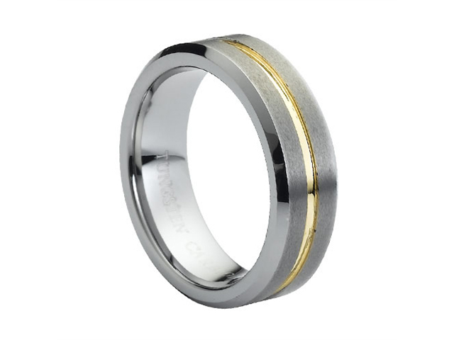 Tungsten Carbide Yellow Gold Plated Center Grooved 7mm Wedding Band Ring