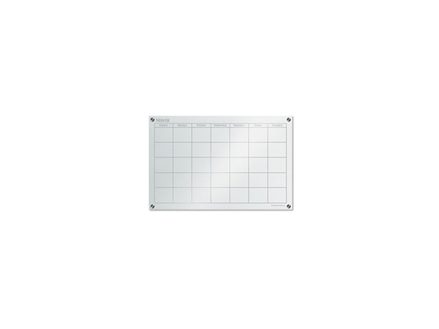 Glass Panel Dry-Erase Board Calendar 3'x2' White Frosted