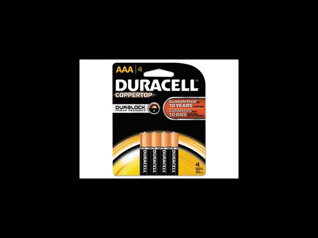 Duracell DURMN2400B4Z Alkaline Battery- AAA- 4-PK