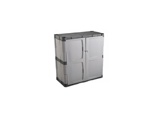 Double-Door Storage Cabinet - Base, 36w x 18d x 36h, Gray/Black