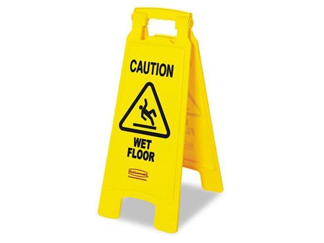 Caution Wet Floor Floor Sign, Plastic, 11 X 1 1/2 X 26, Bright Yellow