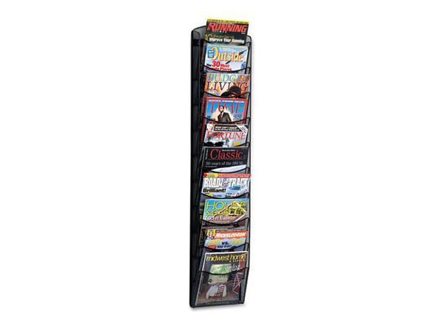 Onyx Mesh Literature Rack, Ten Compartments, 10-1/4W X 3-1/2D X 50-3/4