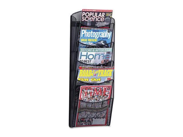 Onyx Mesh Literature Rack, Five Compartments, 10-1/4W X 3-1/2D X 28-1/