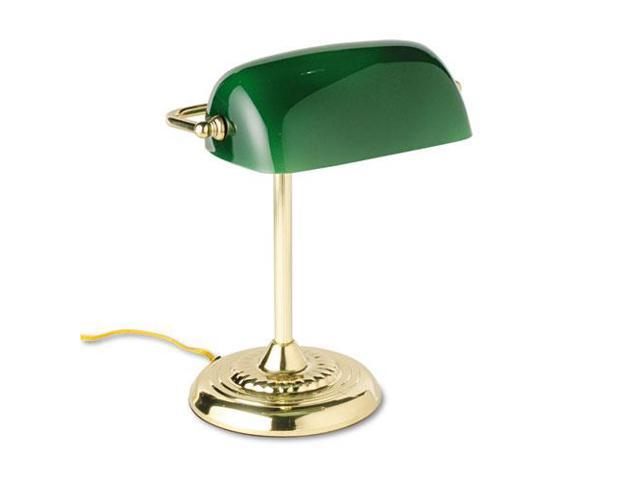 Traditional Incandescent Banker'S Lamp, Green Glass Shade, 14