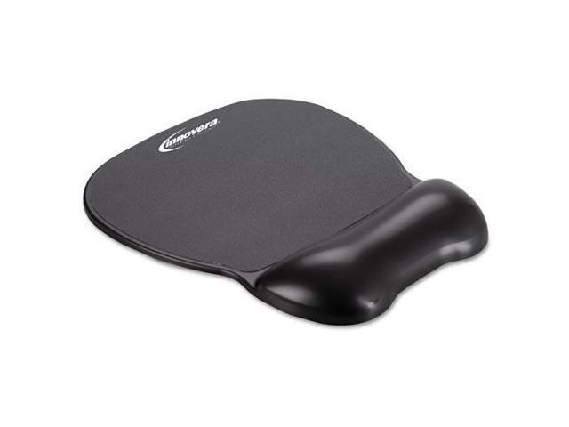 Gel Mouse Pad w/Wrist Rest Nonskid Base 8-1/4 x 9-5/8 Black