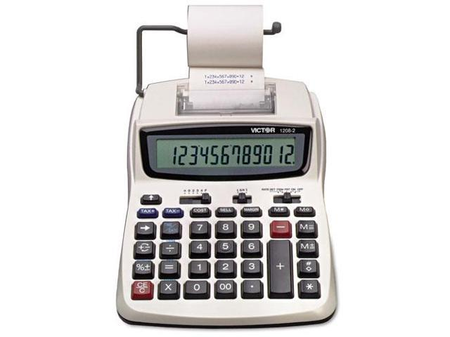 1208-2 Two-Color Compact Printing Calculator, Black/Red Print, 2.3 Lin