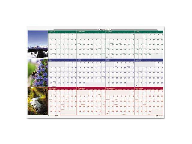Earthscapes Nature Scene Reversible/Erasable Yearly Wall Calendar, 32