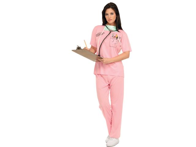 Women's Emergency Room Nurse Pink Scrubs Doctor Costume