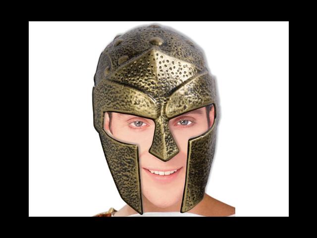 Adult Men's Gold Roman Trojan Gladiator Costume Helmet