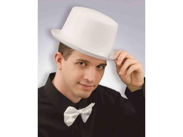 Prom Butler Chauffeur Deluxe White Felt Formal Costume Top Hat