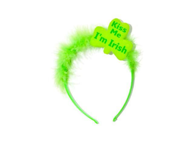 St Patricks Day Green Kiss Me I'm Irish Furry Tiara Hat