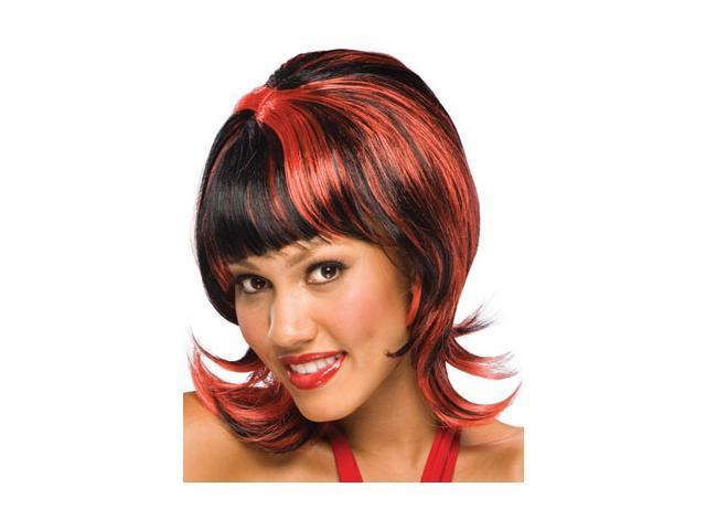 Adult Oo La La Black Costume Wig With Red Highlights