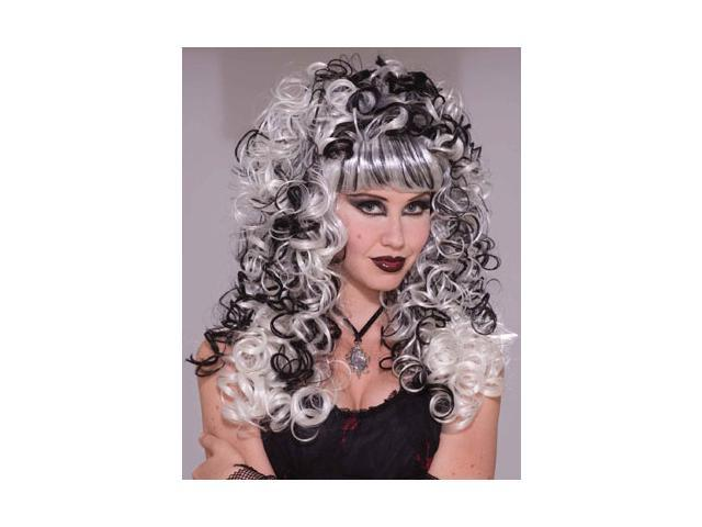 Black and White Zombie Ghost Lady Curly Costume Wig