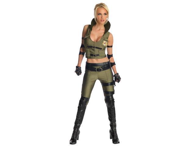 Deluxe Adult Womens Mortal Kombat SWAT Sonya Blade Sexy Costume Medium 6-10