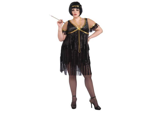 Womens Black and Gold Flapper Girl Costume Plus Size 16-22