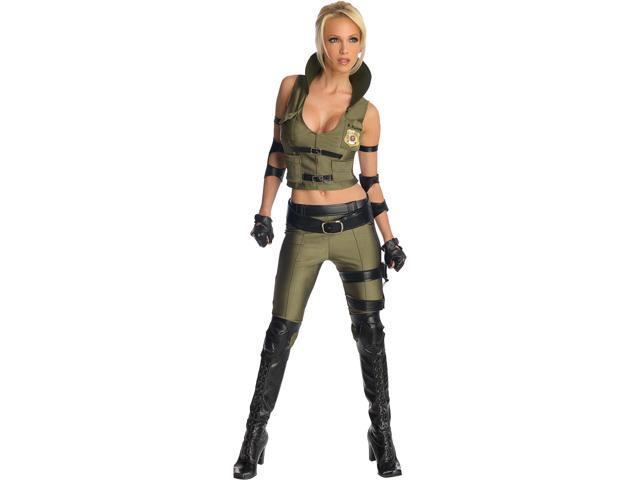 Deluxe Adult Womens Mortal Kombat SWAT Sonya Blade Sexy Costume Small 2-6