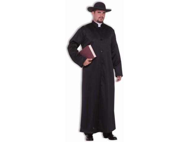 Mens Black Costume Trench Coat Robe Padre Or Gangster