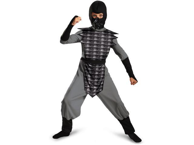 childrens boys grey gray evil ninja mortal kombat smoke costume large 10 12 - Mortal Kombat Smoke Halloween Costume