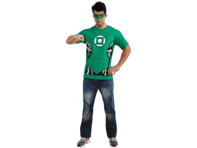 Adult's Mens DC Green Lantern T-Shirt Ring And Mask Costume Set Size X-Large
