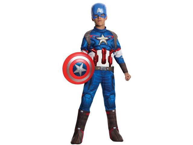 Child Boys Marvel Deluxe Captain America Avengers 2 Costume Large 12-14