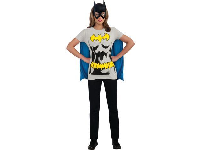 Adult's X-Large Plus Size 16-22 Batgirl T-Shirt With Cape And Mask Costume