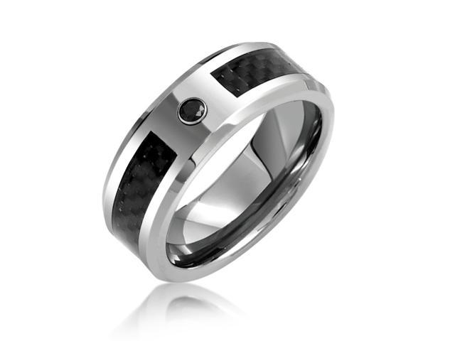 Bling Jewelry Gift Mens Black Tungsten Wedding Band Ring Carbon Fiber Inlay 8mm
