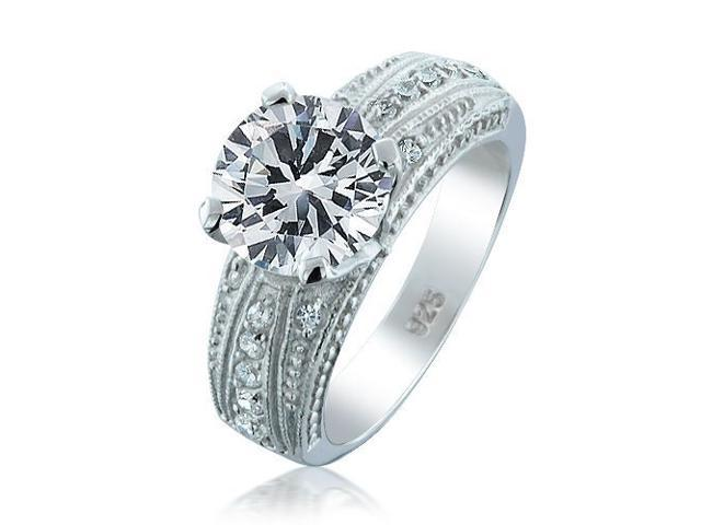 Bling Jewelry Vintage Style .925 Sterling Silver CZ 4 Prong Round Engagement Ring