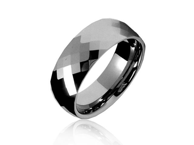 Bling Jewelry Gift Multi faceted Tungsten Wedding Band Ring 8mm