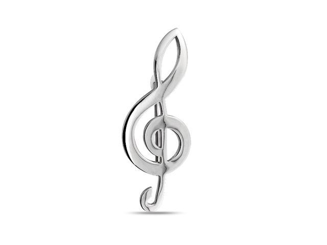 Bling Jewelry 925 Sterling Silver G Clef Musical Note Brooch Pin