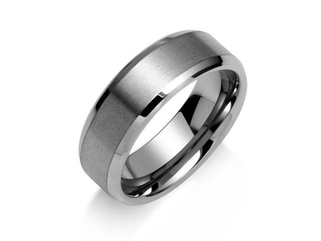 Christmas Gifts Brushed Matte Center Unisex Tungsten Ring 8mm