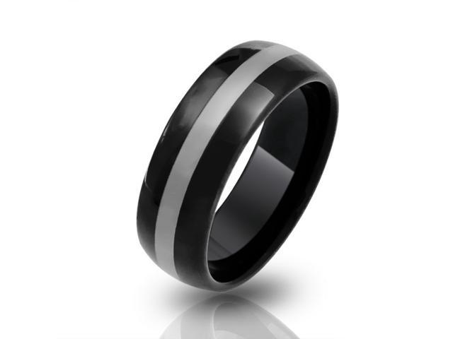 Bling Jewelry Black Curved Tungsten Wedding Band Ring 8mm