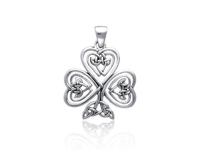 Valentine Gifts Celtic Knot Heart Clover Sterling Silver Pendant