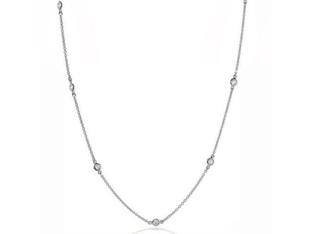 Bling Jewelry 925 Sterling Silver CZ By The Inch Florence Necklace 24in