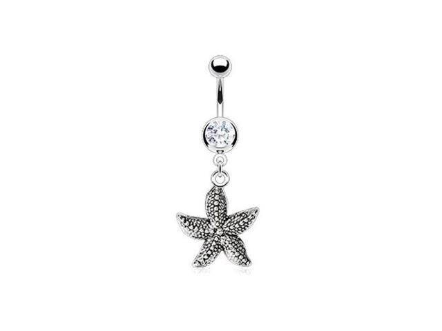Bling Jewelry 316L Stainless Steel CZ Vintage Style Nautical Starfish Dangle Belly Ring