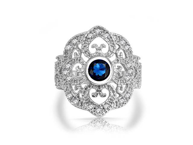 Valentine Gifts Blue Simulated Sapphire CZ Vintage Style Heart Armor Ring Rhodium Plated